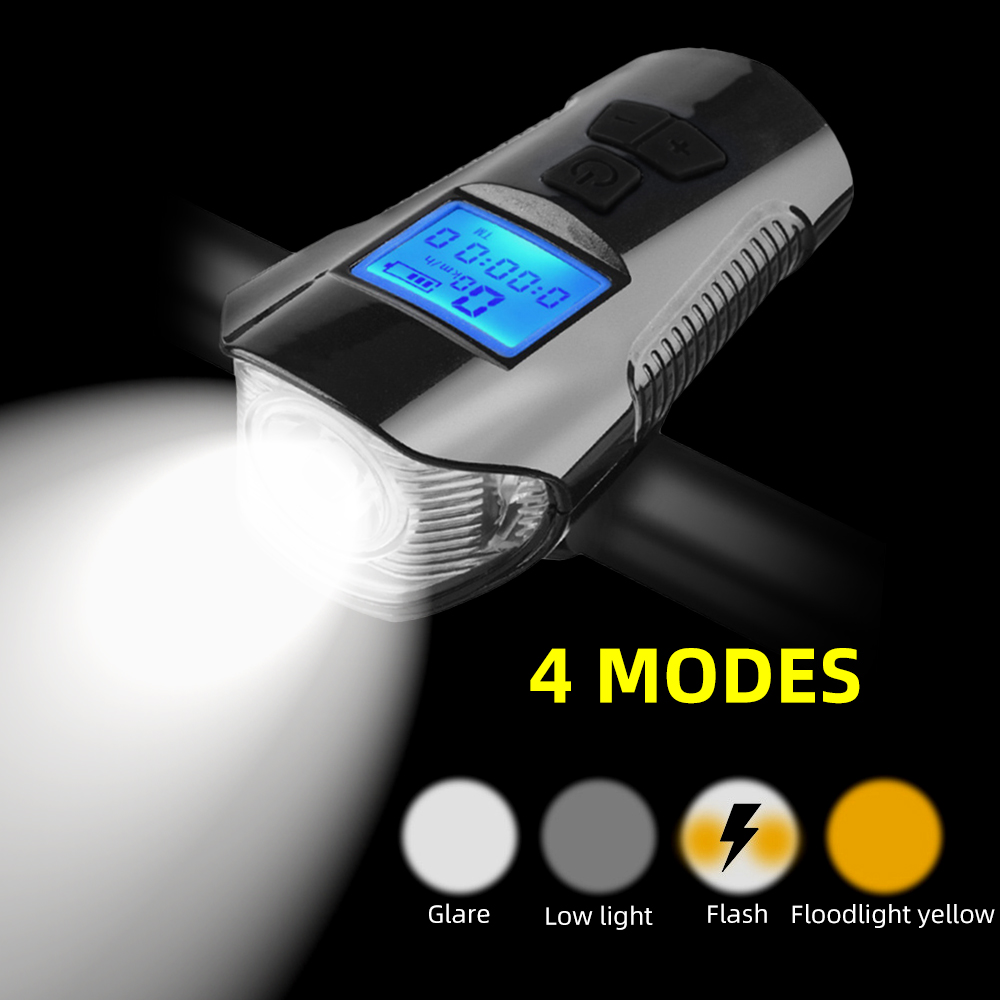 Flashlight Bicycle-Light-Lamp Horn Led-Front-Lights Bike Computer 4-Mode USB Speedometer