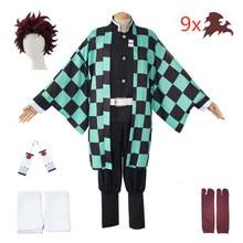 Volwassen En Kinderen Demon Slayer Cosplay Tanjirou Kamado Cosplay Kostuum Kimetsu Geen Yaiba Mannen Kimono Kostuum Pruiken Oorbellen Halloween