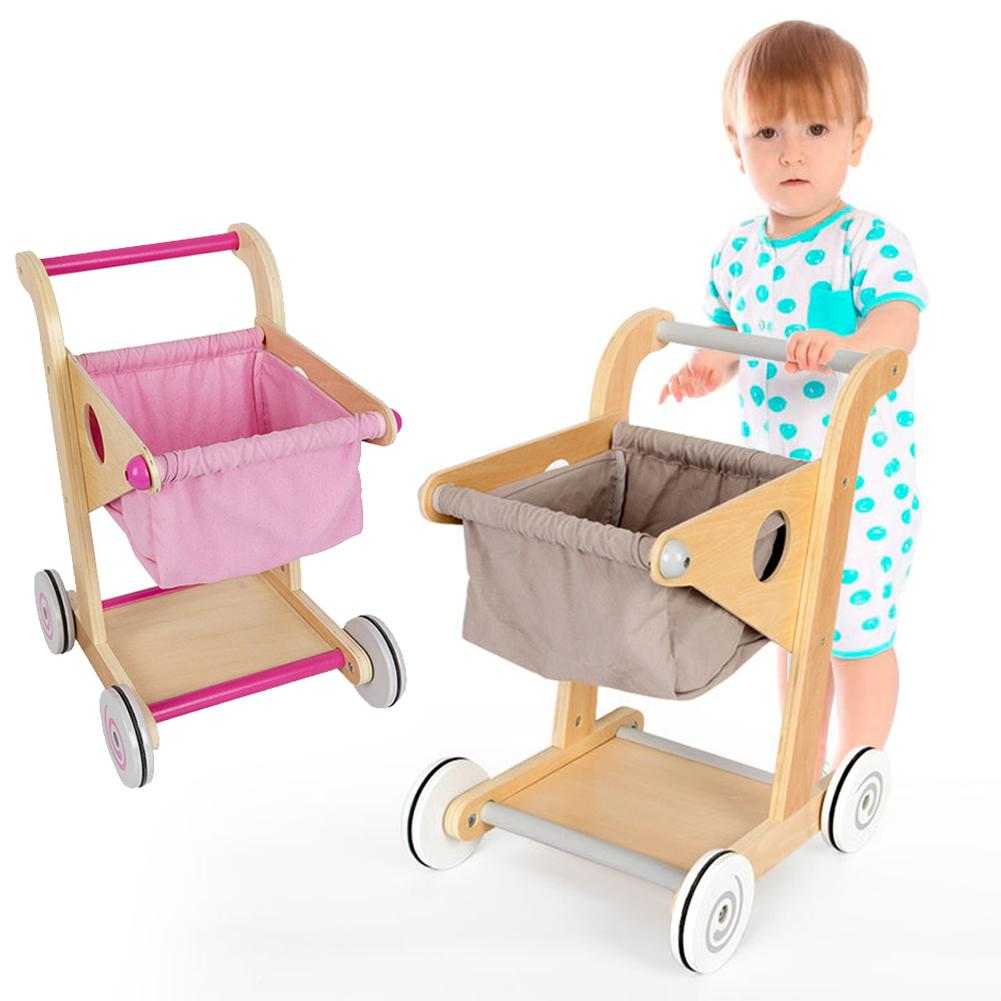 Wood Supermarket Trolley Toy Wooden Shopping Cart Pretend Play Toy Simulation Educational Toys For Kids Children Toddler Cart