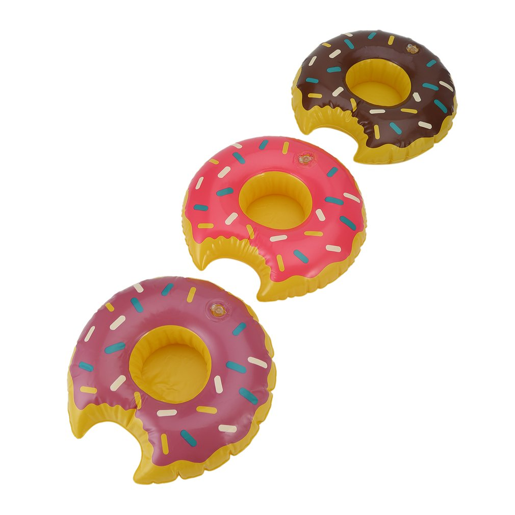 3pcs/set Fashionable Lovely Colorful PVC Inflatable Donuts <font><b>Beer</b></font> Coffee Fruit Juice Drink <font><b>Cup</b></font> Holder Summer Party Pool image