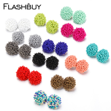 Flashbuy Simple Multicolor Drop Earrings For Women Bohemia Handmade Beaded Ball Wedding Accessories Jewelry Pendientes