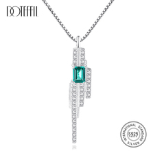 DOTEFFIL Romantic Women Pendant Charms Chain Necklace Emerald Blue-Green Dinmond Stone with Small CZ Crystal around S 925 Silver
