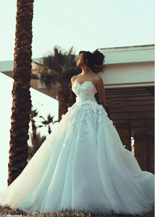 Bridal Ball Gown Flowers 2018 Vestido De Noiva Robe De Mariee Elegant Sweetheart Lace Appliques Mother Of The Bride Dresses