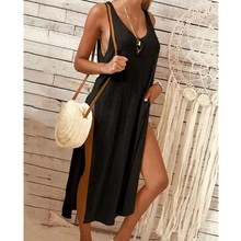 2019 Summer Beach Women Dress Casual Sexy Elegant Vintage Sleeveless Side Slit Long Dresses Simple Solid Color Dress Plus Size недорого