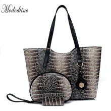 Mododiino Women Handbag 3 Sets Serpentine Pattern Top-Handle Bags Large Capacity Luxury Handbags Designer DNV1181