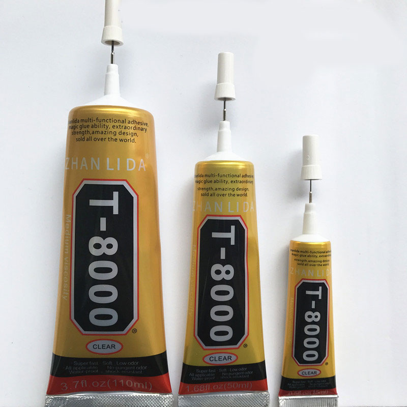 2Pcs 110ml T8000 Industrial Strength Adhesive, T8000 Clear Liquid Glue For Phone Touch Screen DIY Jewerly Craft Rhinestone