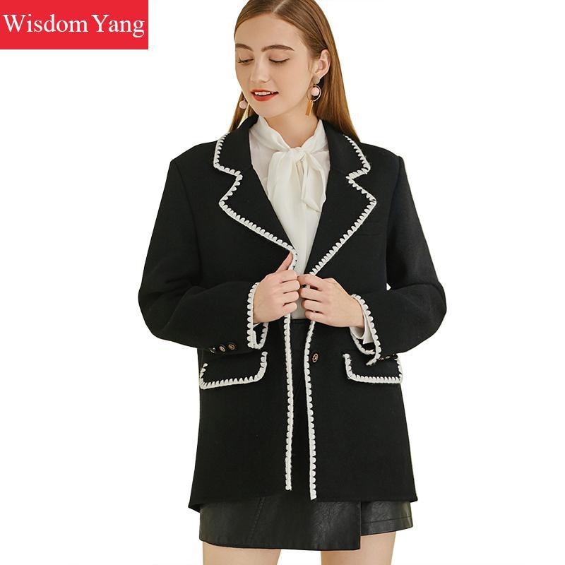 Elegant Winter Warm Sheep Skin Wool Coats Suits Vintage Formal Women Coat Black Short Suit Woollen Overcoat Korean Outerwear