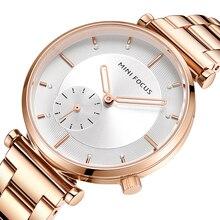 מיני פוקוס נשים שעונים מותג יוקרה אופנה גבירותיי שעון 30M עמיד למים Reloj Mujer Relogio Feminino עלה זהב נירוסטה