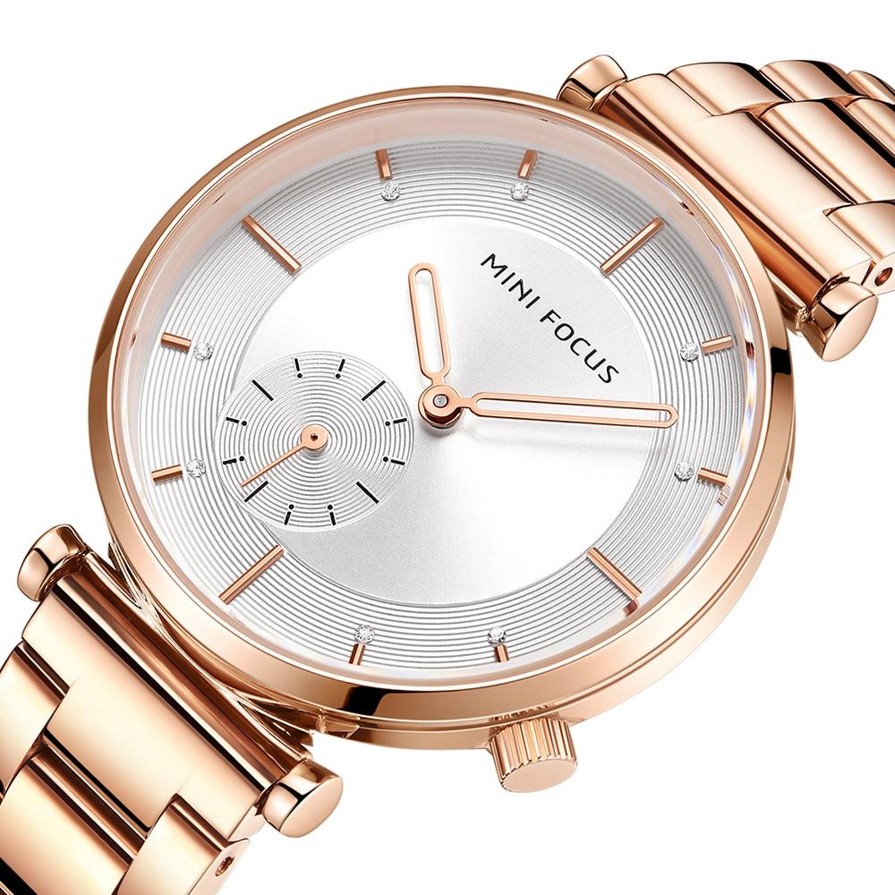 MINI FOCUS Women Watches Brand Luxury Fashion Ladies Watch 30M Waterproof Reloj Mujer Relogio Feminino Rose Gold Stainless SteelWomens Watches   -