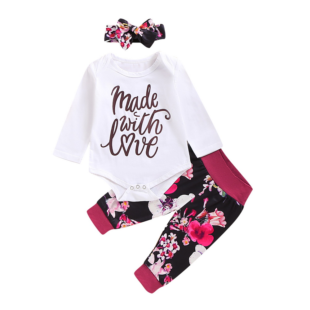 US Newborn Baby Girl Clothes Floral Long Sleeve Tops+Long Pants Warm Outfits Set