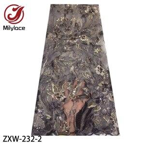 Image 2 - 2019 moda francês tecido de renda com lantejoulas 5 metros tule africano bordado flor tecido renda líquida para o casamento ZXW 232