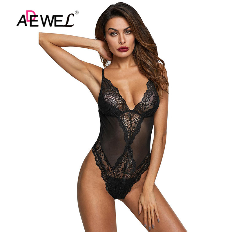 ADEWEL Women Black Bodysuit Spaghetti Strap Sheer Mesh Lace Bodysuit Transparent Sexy Deep V Teddies Hollow Out Bodycon Overalls
