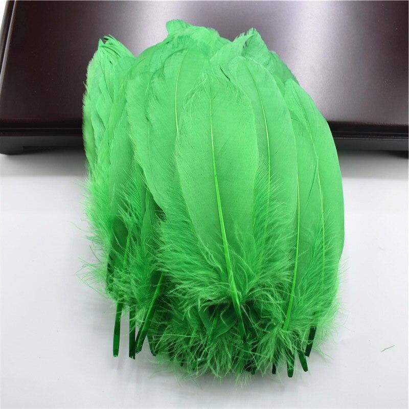 Жесткий полюс, натуральные гусиные перья для рукоделия, 5-7 дюймов/13-18 см, самодельные ювелирные изделия, перо, свадебное украшение для дома - Цвет: Grass green