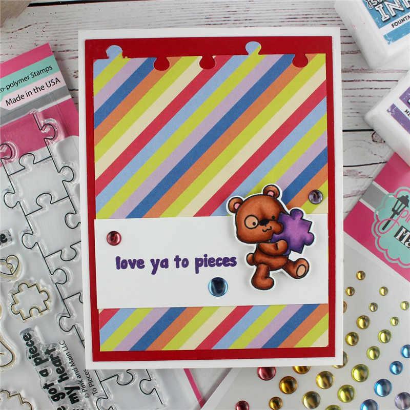 YaMinSanNiO головоломка животное милый медведь прозрачные штампы Скрапбукинг для изготовления карт декоративное тиснение DIY шаблоны ручная работа Новый 2019