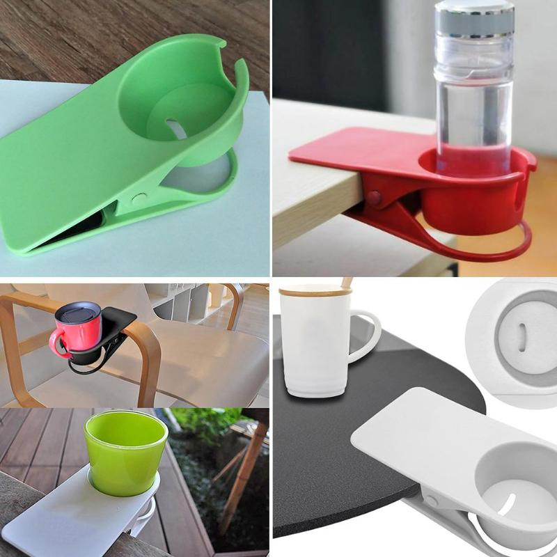 Cute Cup Holder Office Drink Coffee Water Cup Holder Mug Rack Solid Cradle Stand Clip ABS For Home Office Desk Table
