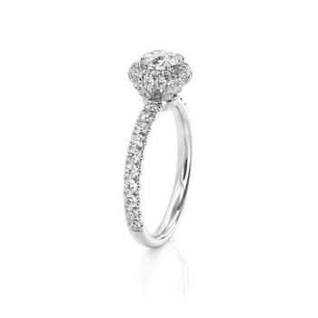 14k White Gold Center 1ct 6.5mm EF Color Moissanite Halo Engagement Ring for Women Wedding Anniversary Gift 2