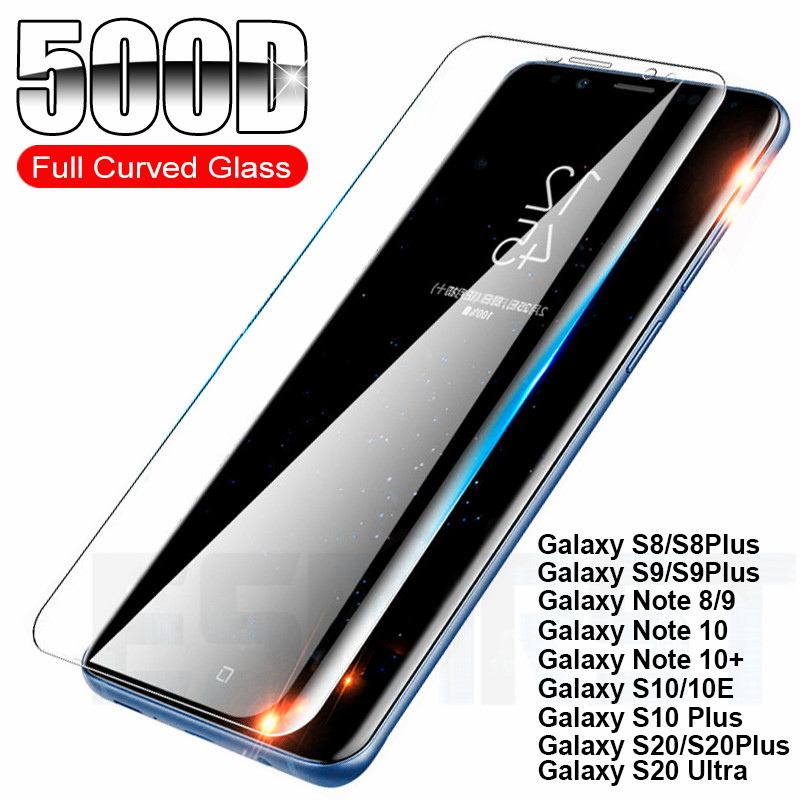 500D Pieno Curvo Vetro Temperato Per Samsung Galaxy Note 8 9 10 S20 Ultra S8 S9 S10 Più S10E Schermo vetro di protezione Pellicola Caso