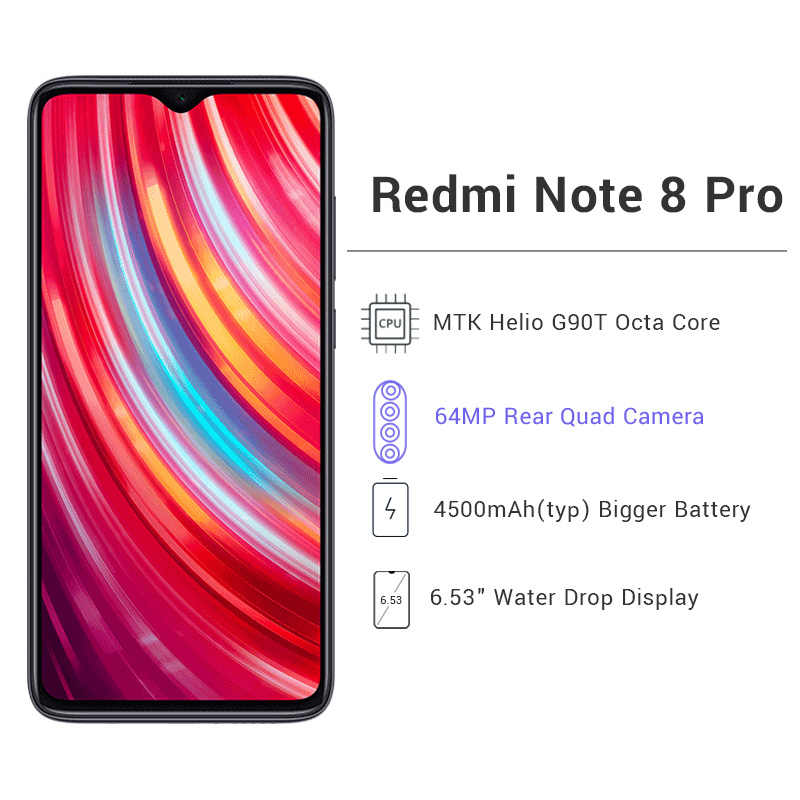 "Global Rom Xiaomi Redmi Note 8 Pro 6 Gb 128 Gb 64MP Quad Camera Smartphone Helio G90T 500 Mah Nfc 6.53 ""Scherm"