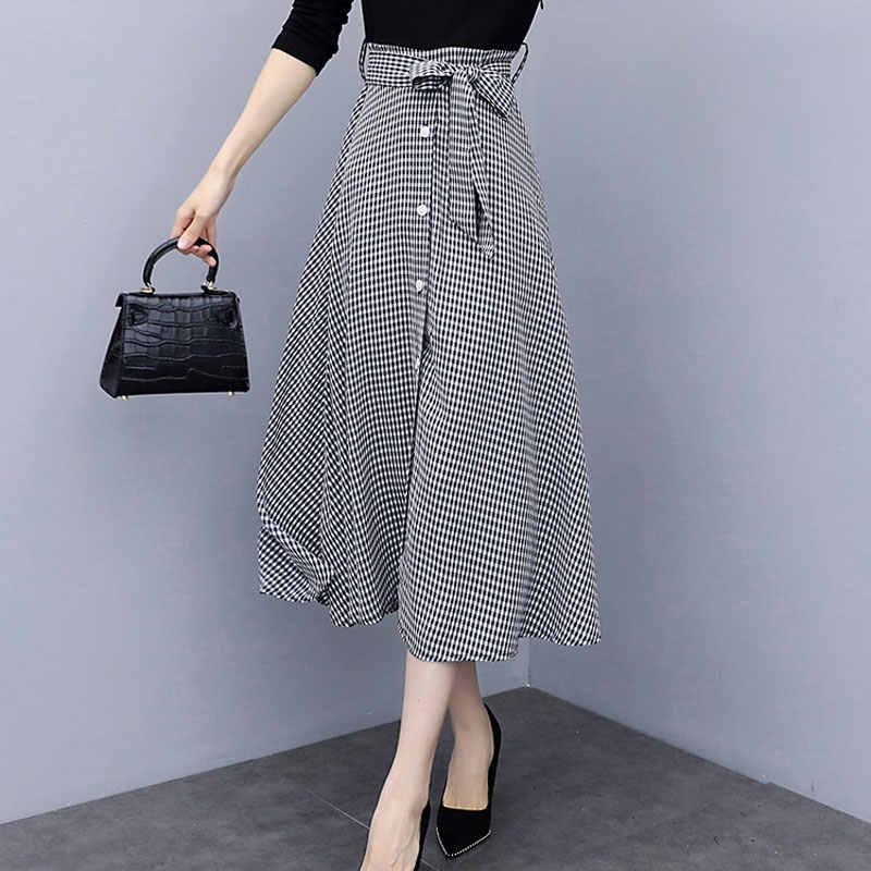 2019 Осенняя Женская юбка с высокой талией плиссированная юбка винтажная клетчатая миди юбка Хаундстут повседневные шикарные юбки