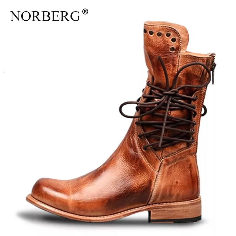 NORBERG Rivets Tube Knight Woman Boots Round Head Side Strap Retro Short Plush Low Heel Desert Motorcycle