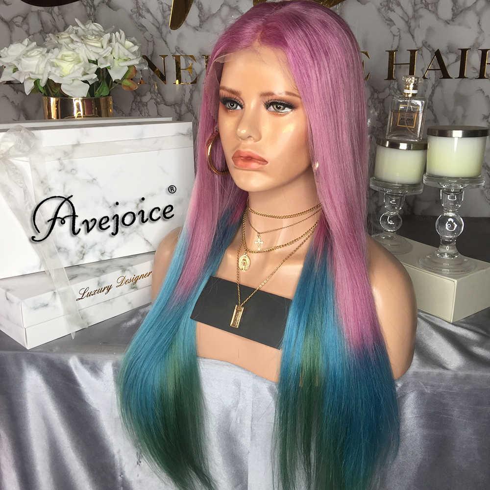 Perucas humanas coloridas cor misturadas do cabelo humano do rosa/azul/verde peruca indiana reta longa da parte dianteira do laço de avejoice com cabelo do bebê