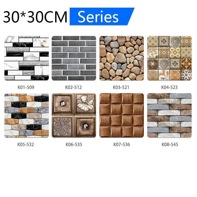 5pcs 3D קיר נייר לבני אבן דפוס עמיד למים דביק פרחוני הדפסי קיר נייר לילדים חדר חיים חדר קיר מדבקה
