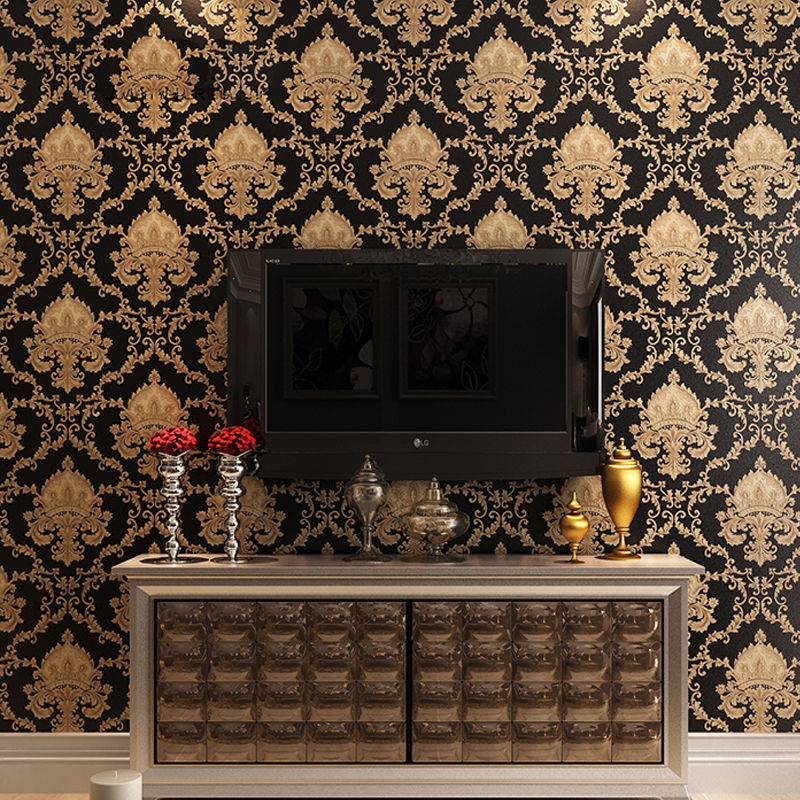 House Wall Paper Black Gold Luxury Embossed Texture Metallic ...