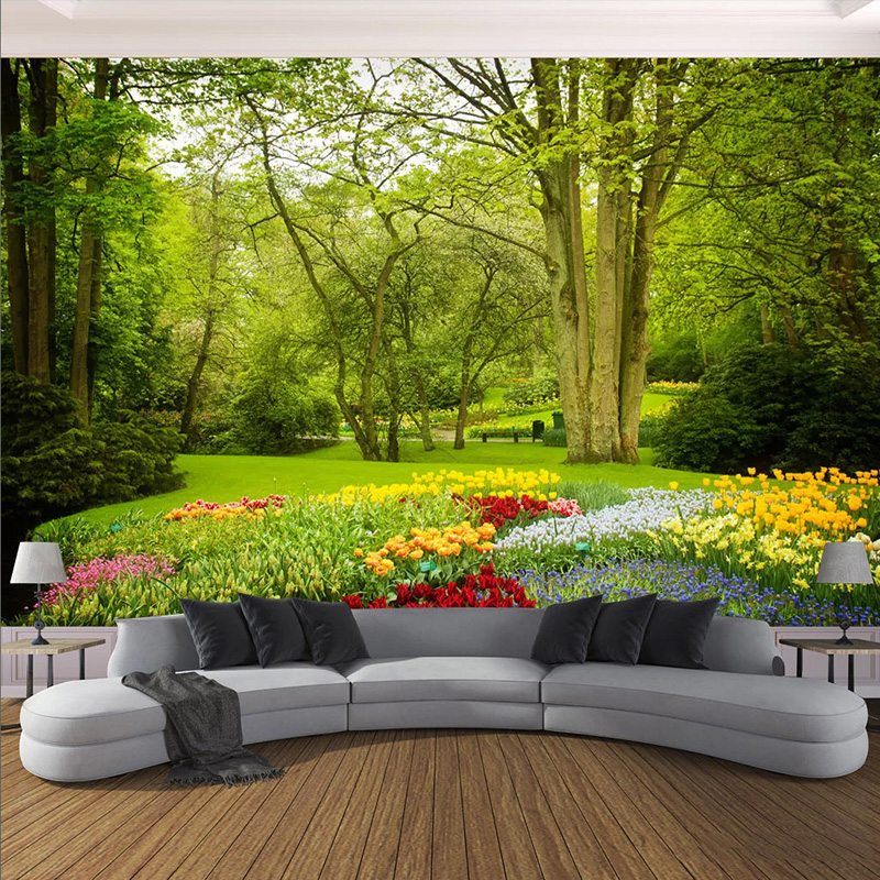 Custom Mural Wallpaper 3D Green Forest Landscape Wall Painting Living Room TV Sofa Background Wall Decor Papel De Parede Sala 3D