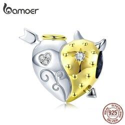 bamoer Angel and Devil Heart Beads for Women Original Charm Silver 925 Bracelets Biocolor Jewelry Gifts Luxury Bijoux BSC107