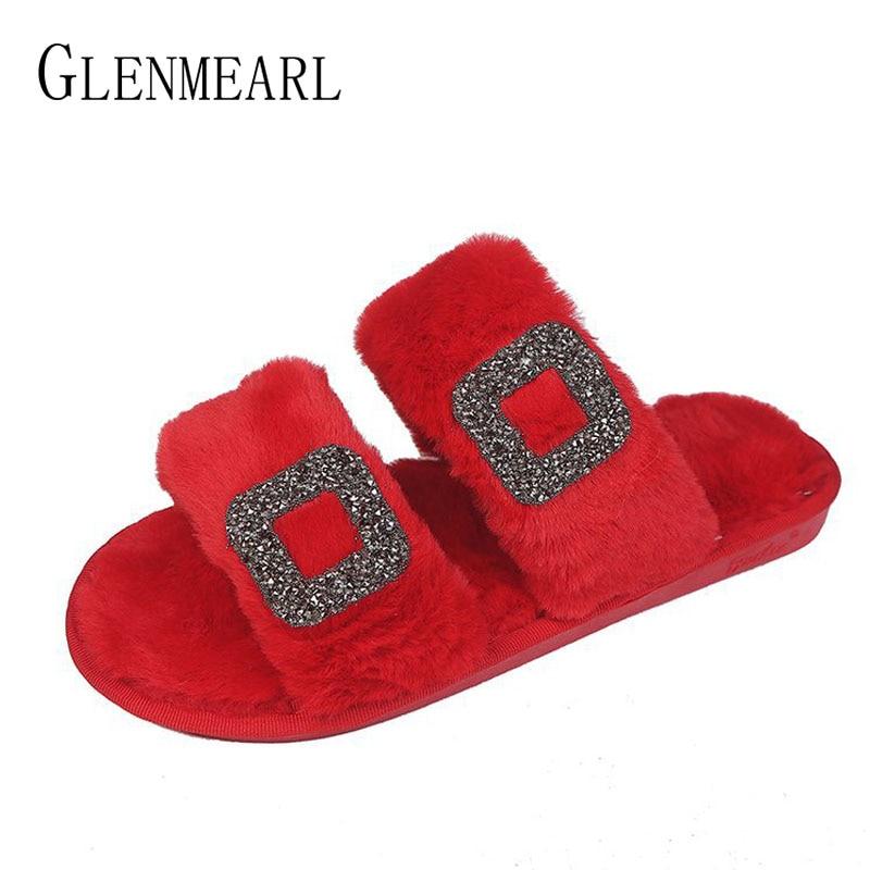 Slipper Women Winter Warm Shoes Female Home Slippers Flat Square Rhinestone Metal Button Slip On Fur Flip Flops Casual Shoes DE