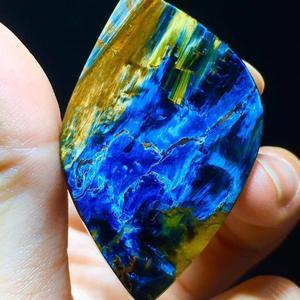 Image 3 - Certificaat Natuurlijke Blauw Pietersite Hanger 47.6/30.4/11.3 Mm Water Drop Chatoyant Healing Gemstone Vrouwen Stone Ketting Aaaaa