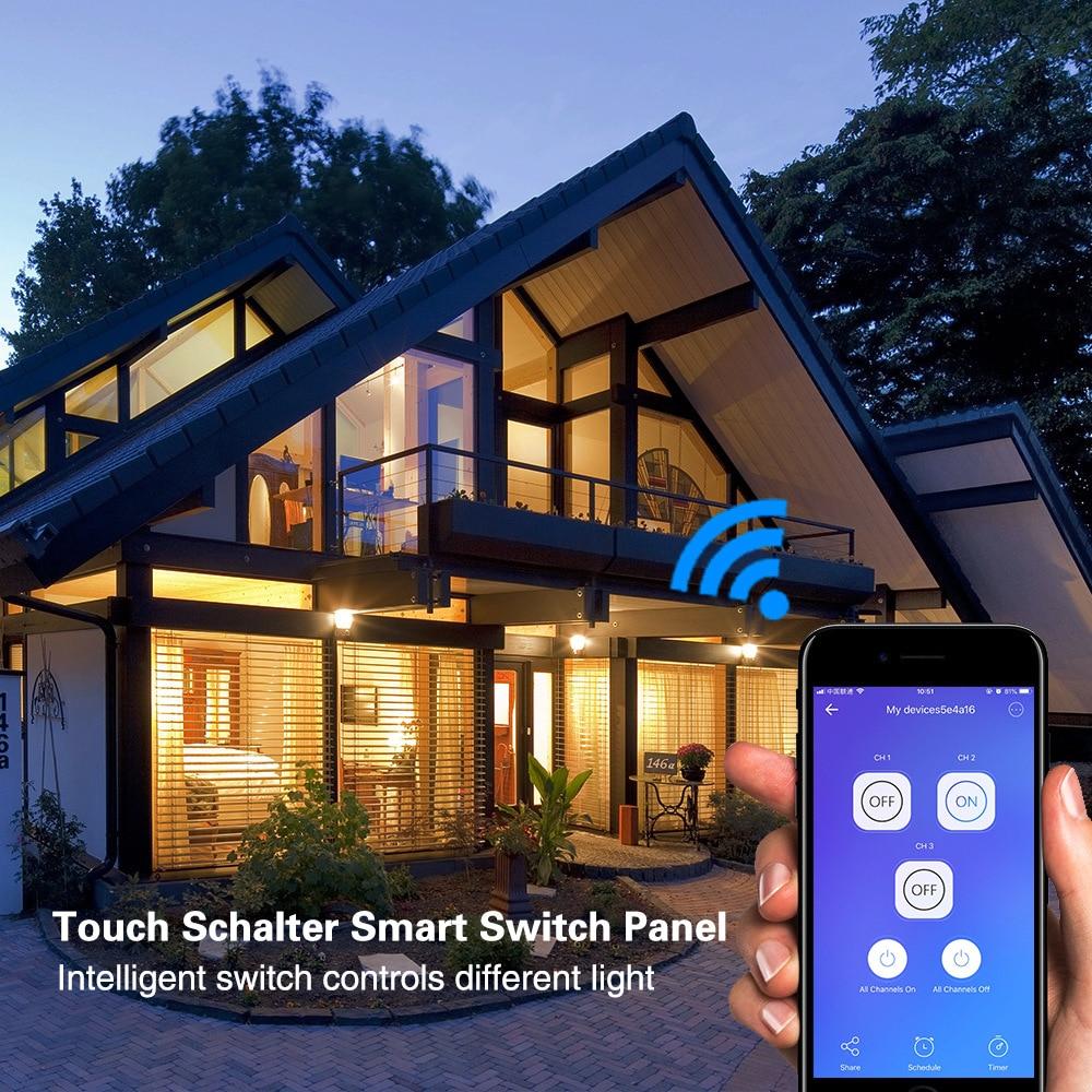 Image 5 - Wifi умный светильник, переключатель, сенсорная стеклянная панель, США, прямоугольник, беспроводное электрическое приложение, дистанционное управление голосом, работа для Alexa Google HomeВыключатели    АлиЭкспресс