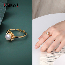 Kinel Minimalist Bijoux 925 Sterling Silver Simple 18K Gold Ring Pearl Open Finger Rings Woman Jewelry Party Christmas Gift kinel bague real pure 925 sterling silver vintage layered rings for woman jewelry wedding finger open ring bijoux femme