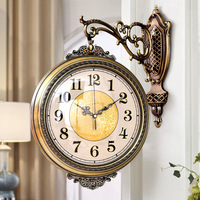 Large Vintage Silent Wall Clock Decor Antique Double Sided European Garden Clock Living Room Relogio Parede Home Decor Clocks