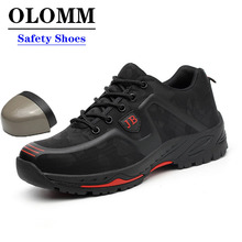 OLOMM Labor Insurance Shoes Men Breathable Deodorant Safety Work Shoes Steel Toe Caps Anti-smashing Anti-piercing Site Shoes
