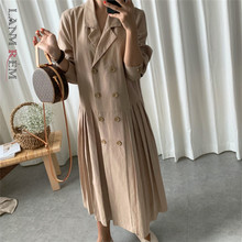 Fashion Women Coat Dress Turn-Down-Collar Pleated Double-Breasted Summer New LANMREM