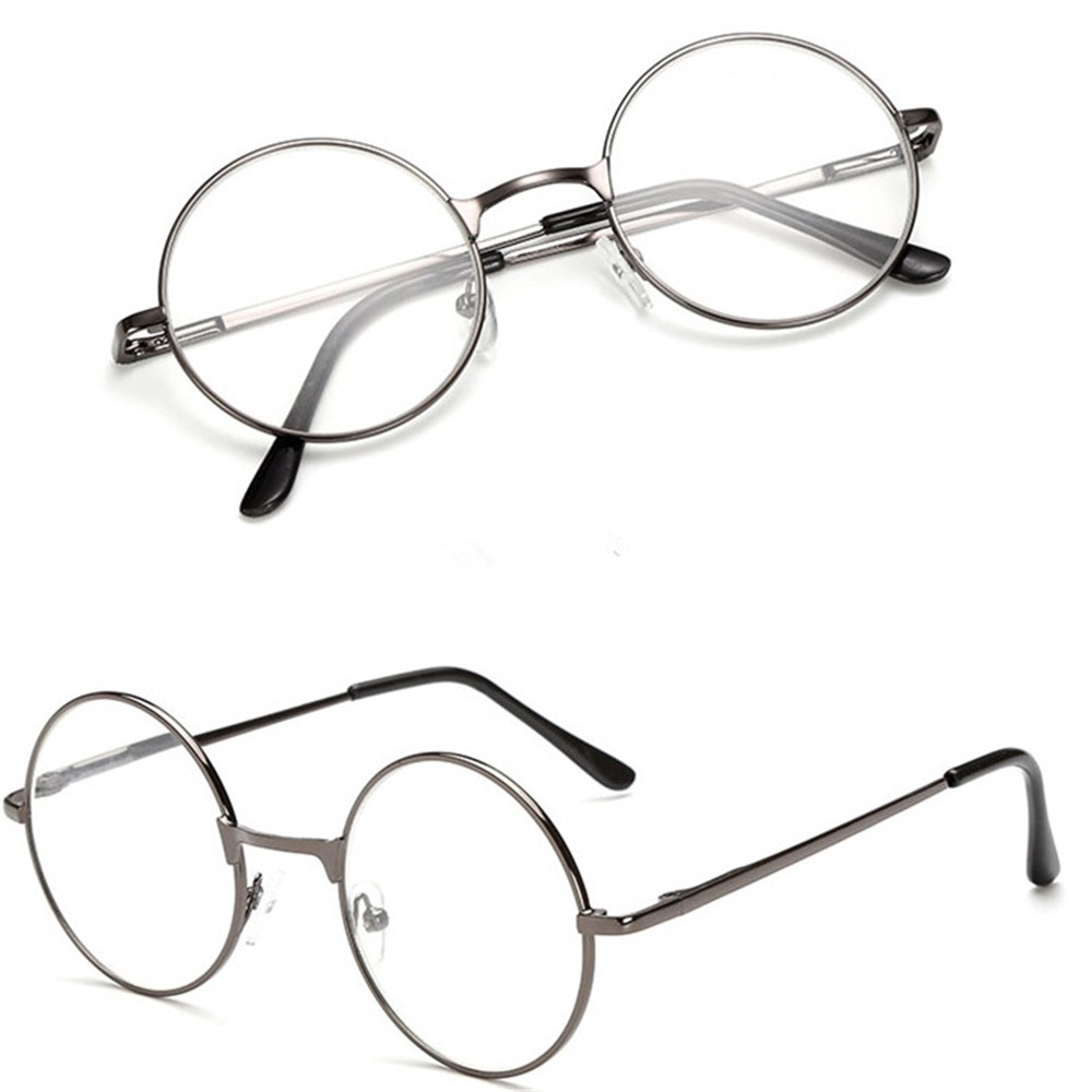 Vintage Round Metal Frame Reading Glasses Clear Lens Glasses Ultra Light Resin Eyeglasses Magnifying Vision Care +1.00~+4.0