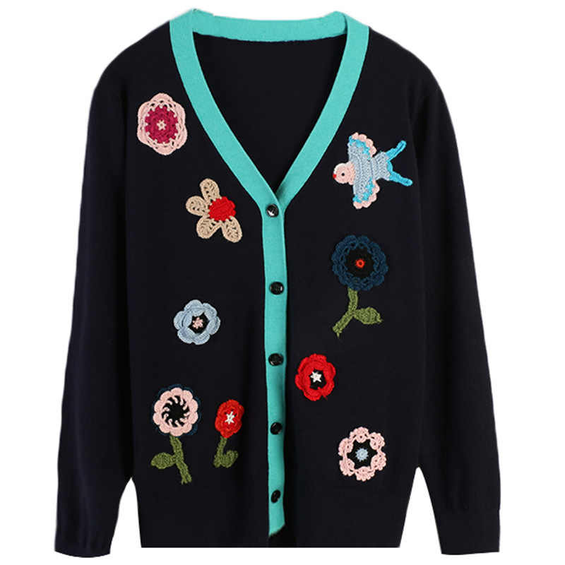 Женский свитер 2019 Осень Новый женский цветок вышивка полосы контрастных цветов Свободный вязаный кардиган тонкий раздел