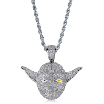 Copper Silver Color Plated Cartoon Character Master Yoda Necklace Pendant Iced Out Men's Women Jewelry For Gifts