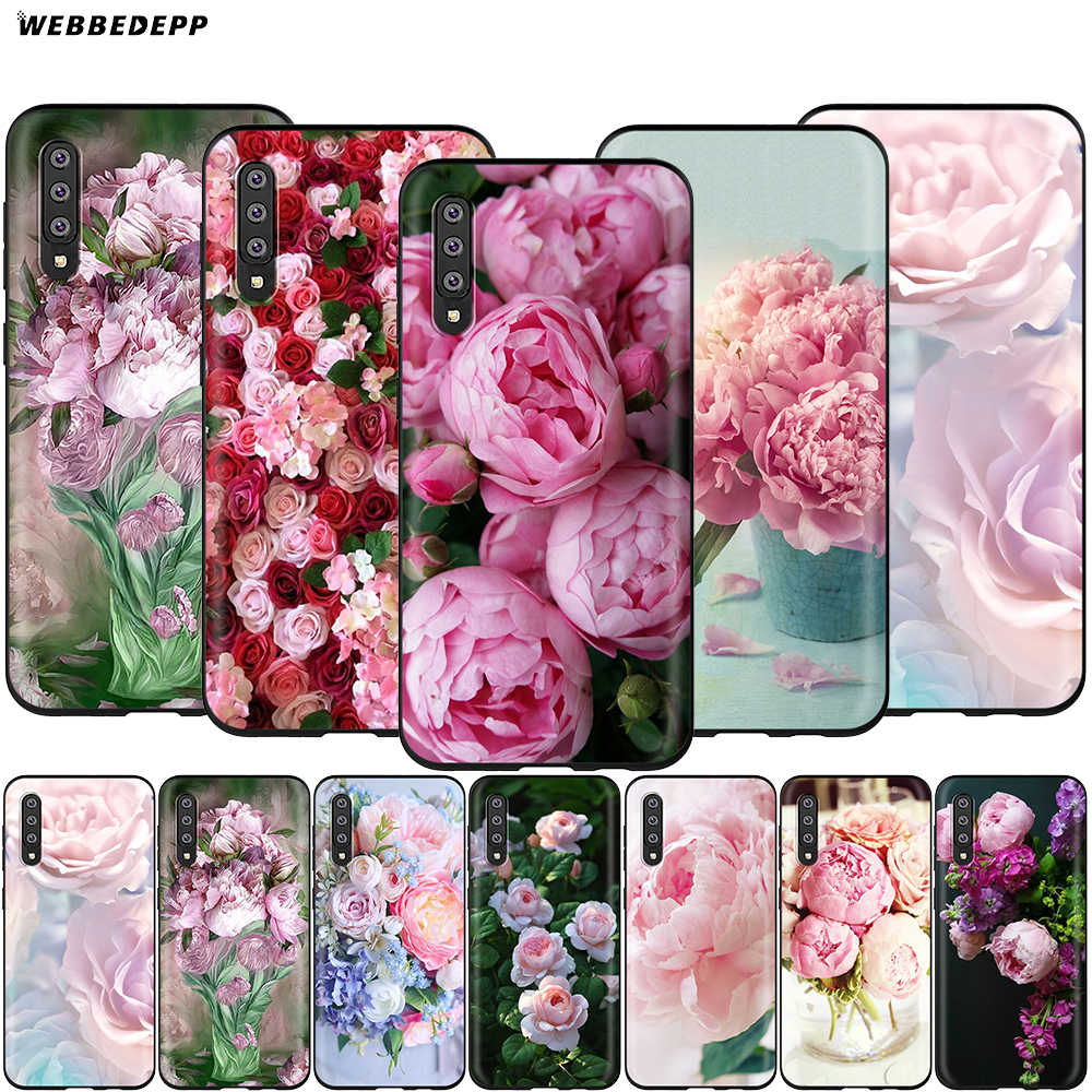 Webbedepp Pink Flower Peony Vase Case for Samsung Galaxy S7 S8 S9 S10 Plus Edge Note 10 8 9 A10 A20 A30 A40 A50 A60 A70