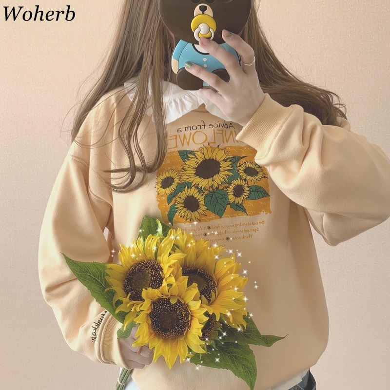 Woherb Harajuku Sweatshirt O Neck Long Sleeve Hoodies Casual Loose Print Pullover Tops Fashion New Outerwear Japan Style 91082