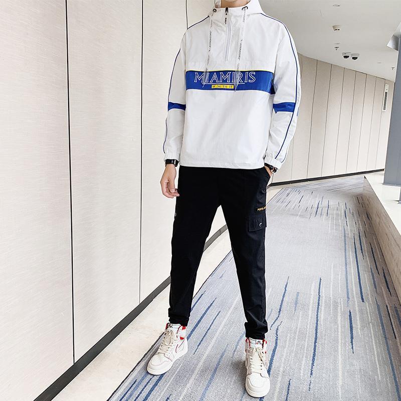 Wu Jian Dao 2019 Autumn MEN'S Casual Suit Korean-style Trend Teenager Hoodie Jacket Two-Piece Set Fashion
