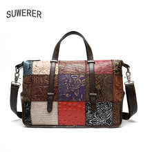SUWERER New Women Genuine Leather bag Color stitching real cowhide bag luxury handbags women bags designer leather tote bag tomubird new superior cowhide leather designer inspired flower ladies handmade leather tote satchel handbags