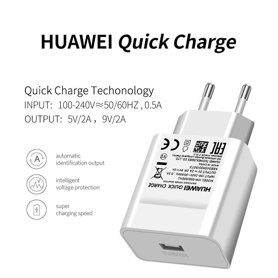 详情3Huawei Genuine Fast Charger 9V 2A QC 2.0 Quick Charge EU Adapter USB C Cable For Mate20lite p9plus honor v9 note8 nove2plus 2 3e