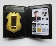 الولايات المتحدة CIA الشرطة خاص وكيل ضابط شارات جلد حالة حامل بطاقة الهوية القيادة محافظ حامل هدية تأثيري جمع