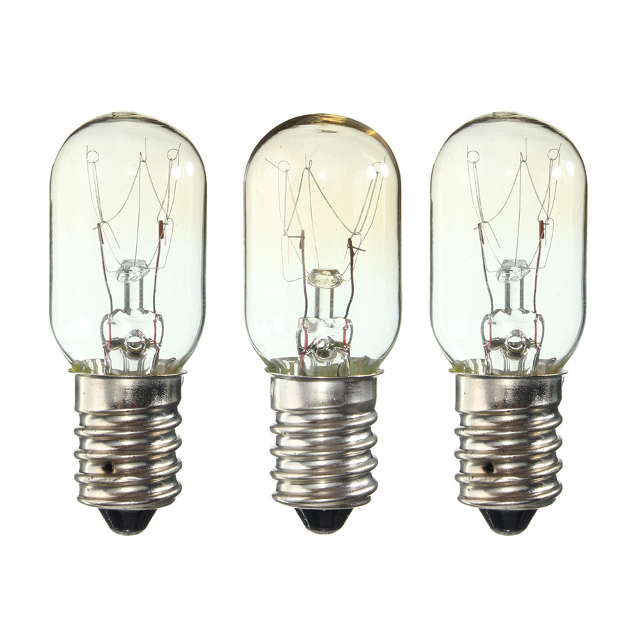 3 Pieces AC 220-230V Edison Bulb E14 15W Refrigerator Fridge Light Bulb Tungsten Filament Lamp Bulbs Warm White Ligthing