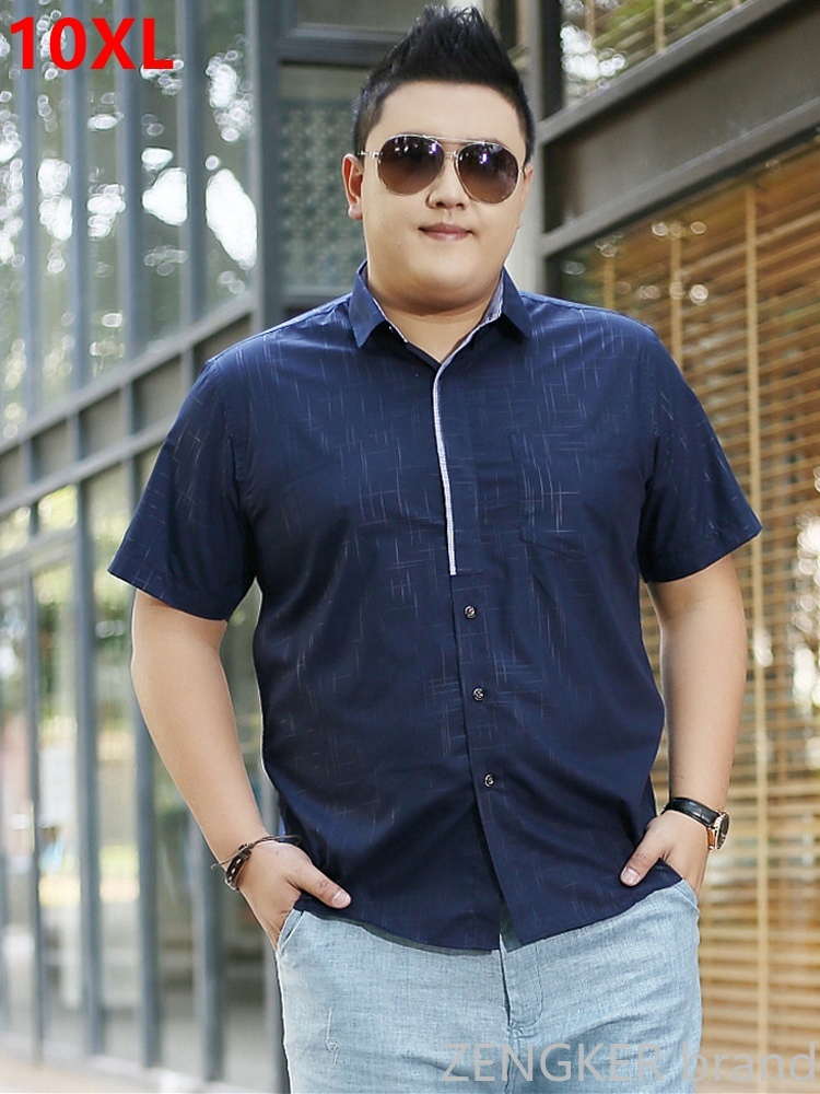 Big Men's Plus Size Clothing  Big Size Casual Male Shirt Big Yards Loose Summer Short-sleeve Shirt 8XL 7XL 150kg