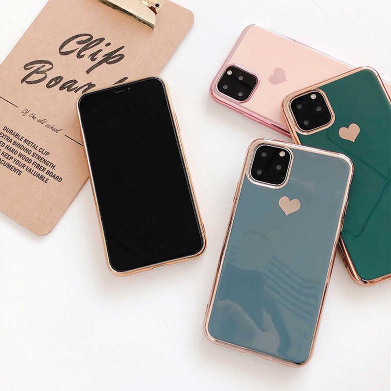 LOVECOM etui na iphone'a 11 Pro Max XR XS Max 6 6S 7 8 Plus X jednokolorowe galwanicznie serce miękkie etui tpu na tył telefonu Coque