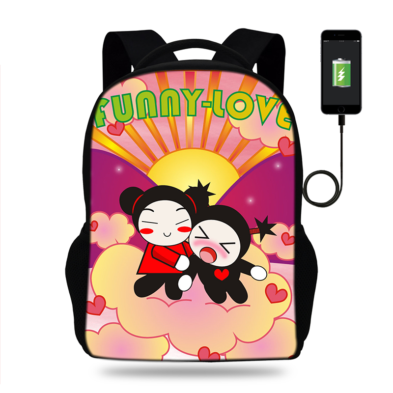 17inch Pucca Print Backpack Women USB Port Backpacks For Teenager Girls  School Bags Laptop Daily Backpacks