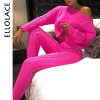 Ellolace 2019 Fashion Autumn Sweater 2 Two Piece Suit Women Pink Pollover and Pants Sets Female Outfits Streetwear Knitted Suit